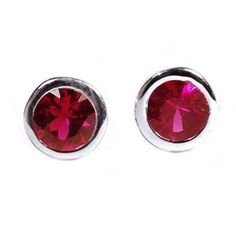 5f317fb87 White Gold Genuine Ruby Bezel Stud Earrings Width Ruby weight carat Metal  Type: White Gold Handcrafted in USA. Authenticated genuine diamonds and  precious ...