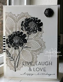 Studio M by Marian: Field Flowers over Hello Doily CARD