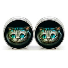 1 pair plugs stainless steel Cheshire cat double flare ear plug gauges tunnel body piercing jewelry PSP0022
