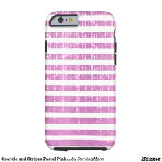 Sparkle and Stripes Pastel Pink and White Tough iPhone 6 Case