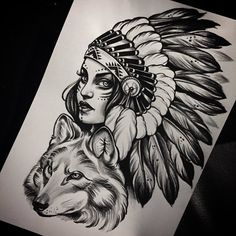 The best tattoo designs on the arm photo: men& sketches in different styles - # Native Tattoos, Wolf Tattoos, Leg Tattoos, Body Art Tattoos, Sleeve Tattoos, Tattoo Girls, Girl Face Tattoo, Indian Girl Tattoos, American Indian Tattoos