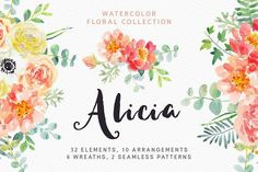 Alicia watercolor floral collection by OJardin on @creativemarket - Meet Alicia watercolor floral collection. 32 floral elements, 10 arrangements, 6 wreaths and 2 patterns included!