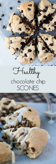 Healthy, High Protein Chocolate Chip Oat Scones - Chocolate for breakfast anyone?