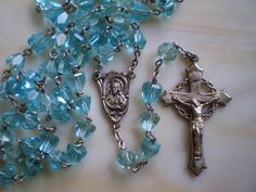 lovely cut crystal and sterling rosary