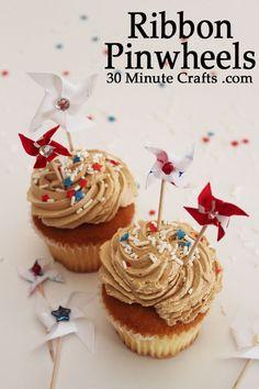 Ribbon Pinwheels - fun to make on cupcakes