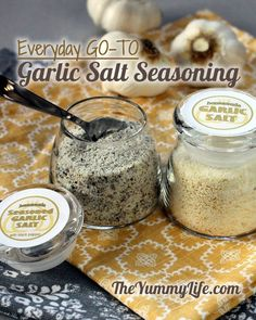 A chef's favorite all-natural seasoning for almost anything. This infused, seasoned garlic salt is so much better than what you buy in the store.