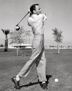 Frank Sinatra playing golf, 1952