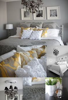 Yellow and Gray is on trend right now.  This bedroom is done well.  The trendy yellow can easily be removed and a current color can replace it down the road.