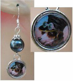 Silver Anthropomorphic Dog Charm Earrings Handmade Jewelry Fashion Accessories