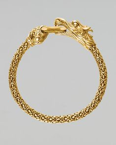 John Hardy Gold Naga Dragon O-Ring Armband - Damen Schmuck und Accessoires Gold Chain Design, Gold Jewellery Design, Mens Gold Bracelets, Gold Bangles, Women's Bracelets, Dragon Bracelet, Ring Bracelet, Ring Armband, Gold Jewelry Simple