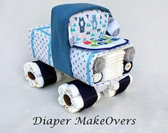 Truck Diaper Cake Baby Boy Unique Diaper Cake by DiaperMakeOvers