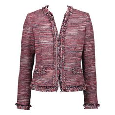 Eyelash Tweed Jacket ($595) ❤ liked on Polyvore featuring outerwear, jackets, fleece-lined jackets, pocket jacket, purple jacket, tweed jacket and tweed fringe jacket