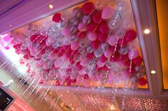 Bat Mitzvah Balloon Ceiling with Pink & Silver Balloons {Party by Balloon Artistry} - mazelmoments.com