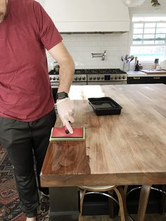 How we refinished our black walnut butcher block counter top Butcher Block Countertops Kitchen, Butcher Block Tables, Cheap Countertops, Walnut Countertop, Butcher Blocks, Butcher Block Stain, Diy Wood Countertops, Butcher Block Island, Quartz Countertops