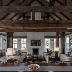 Vintage barn frame addition to Dutch stone house - contemporary - living room - boston - KATE JOHNS AIA