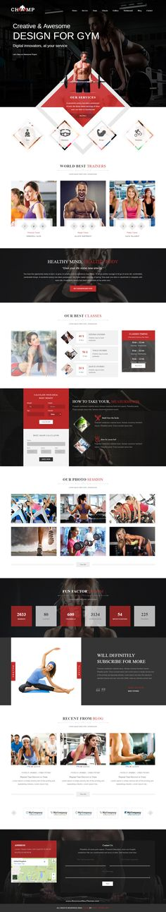 Champ - Gym, Fitness & Yoga WordPress Theme for Creative and Modern Website Web Layout, Layout Design, Modern Website, Website Web, Website Ideas, Photoshop Web Design, Organizar Instagram, Mise En Page Web, Web Sport
