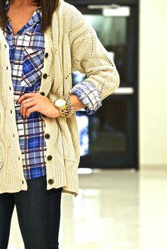 flannel + oversized cardigan