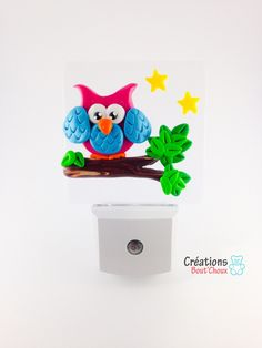 Nightlight LED with light detector Fimo owl by CreationsBoutChoux1 on Etsy https://www.etsy.com/listing/246421227/nightlight-led-with-light-detector-fimo