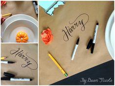 Kraft Paper Table Runner & Simple Thanksgiving Tablescape   bydawnnicole.com