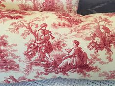 """Toile Pillow, Spring Farmhouse Pillow, This toile fabric has a wonderful vintage appeal the colors are warm and vibrant, a French vanilla background with rose design, approx size 8""""x 19"""".  Two designs boy and girl in the garden and a girl with chickens & goats. 