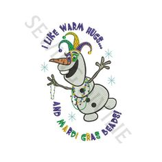 OLAF MARDI GRAS Embroidery Design 4x4 5x7 6x10 INSTANT DOWNLOAD