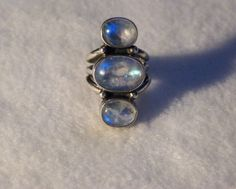 Sterling Silver Ring With Three Moonstones by MerakiByMe on Etsy