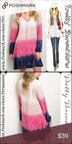 """NWT Navy Combo Tie Dyed Long Sleeve Shift Dress Available in S, M, L Measurements taken from a small Length: 35"""" Bust: 36"""" Waist: 38""""  Made in: USA 100% Rayon  Features • gorgeous tie dyed ombré print in beautiful hues of white, tan, fuchsia pink & navy blue • long sleeves • scooped v-neckline • seriously soft jersey material • relaxed fit  * Available in Pink/White combo in a separate listing *  Fair offers welcome-Plz use offer option Bundle discounts available No pp or trades…"""