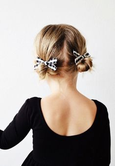 Pigtail buns with ribbon