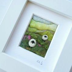 Felted Sheep landscape by British textile artist Maxine Smith aka Tilly Tea Dance www.tillyteadance.co.uk