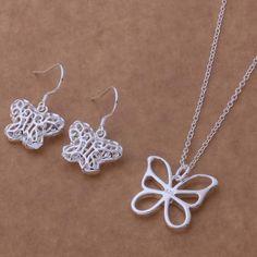 Silver plated jewelry sets, silver jewelry set hollowed butterfly elegant Earring Necklace /JWZDJPRV #Affiliate