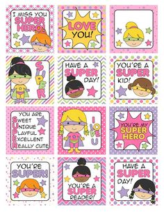 school lunch box notes printable digital – Super Hero Girls Lunch Box Notes Printable – Trends Pins Home Kids Lunch Box Notes, Girls Lunch Boxes, School Lunch Box, Affirmations For Kids, Positive Affirmations, Christmas Lunch, Hero Girl, Bento Box, Quotes For Kids
