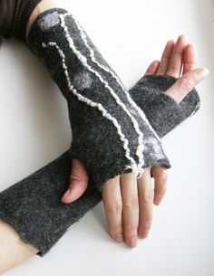 Wool felted fingerless gloves mitts Charcoal White classy. $36.00, via Etsy.