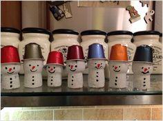 Make Snowmen with Corks and Nespresso Pods