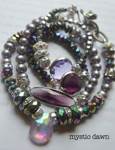 ON SALE chunky bracelet, artisan bracelet, amethyst bracelet, wrap bracelet, pearl bracelet, multi strand bracelet, free shipping, wedding