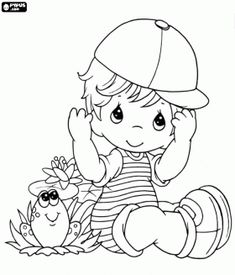 coloring pages of a little girl | ... with a baseball cap sitting on the floor next to a frog coloring page