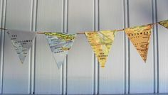 PAPER BUNTING Mini MAP Garland Up Cycled Map Bunting Map Decor Travellers' Gift Handmade Garland Home Decor Party Decor Vintage Map by BigGirlSmallWorld on Etsy