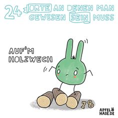 Apfelhase Adventskalender #18: Auf'm Holzwech Illustration, drawing, advent, advent calendar, comic, Holzweg