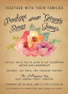Vintage Watercolor Wedding Invitations Vintage by inoroutmedia, $2.60
