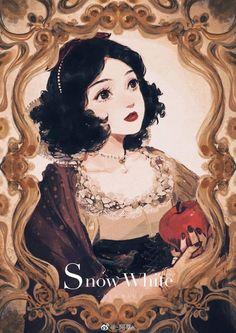 Snow White with her red apple from Disney's Snow White and the Seven Dwarfs Disney Fan Art, Disney Princess Art, Disney Princesses, Disney And More, Disney Love, Disney Magic, Disney And Dreamworks, Disney Pixar, Disney Films