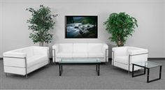 Contemporary Waiting Room with White Leather Furniture for Sale at OfficeAnything.com.