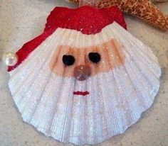 Santa Shell with glitter finish