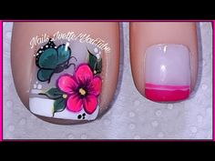 Diseño de pies flor rosado fucsia/decoración de pie flor y mariposa - YouTube Pedicure Nails, Manicure, Summer Toe Nails, Feet Nails, Beautiful Toes, Toe Nail Art, Nail Art Designs, Wine Glass, Lily