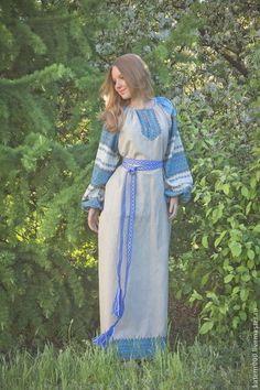 """Платье """"Этно"""" небелено-голубое - голубой,однотонный,платье,длинное платье"""