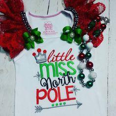 OTT Christmas top , embroidered girls Christmas shirt