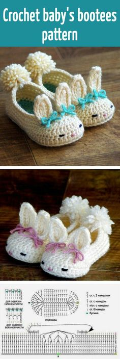 New Ideas Crochet Baby Patterns Booties Link Crochet Diy, Crochet Bebe, Crochet Slippers, Love Crochet, Crochet For Kids, Crochet Crafts, Crochet Projects, Bunny Slippers, Crochet Rabbit