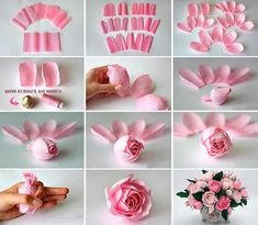 Giant Paper Flowers-How to Make Paper Garden Roses with St Diy Crafts Paper Flowers, How To Make Paper Flowers, Tissue Paper Flowers, Flower Crafts, Diy Flowers, Fabric Flowers, Paper Crafts, Deco Floral, Paper Flower Tutorial