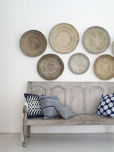 blues & neutrals, old bench, wall plates/chargers