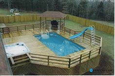 1000 images about pools decks and carports on pinterest for Rectangle above ground pool hard sided
