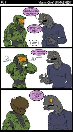 81 - Master Chief: UNMAKSED!  @Earl Terwilliger Video Games Xbox, Video Games Funny, Funny Games, Video Game Art, Halo Funny, Dorkly Comics, Assassins Creed Funny, Halo Master Chief, Ea Games