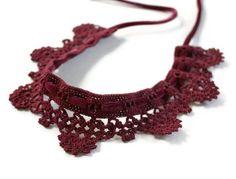 Collar or Choker Cotton Velvet Ribbon Crochet Handmade  Burgundy - READY to ship